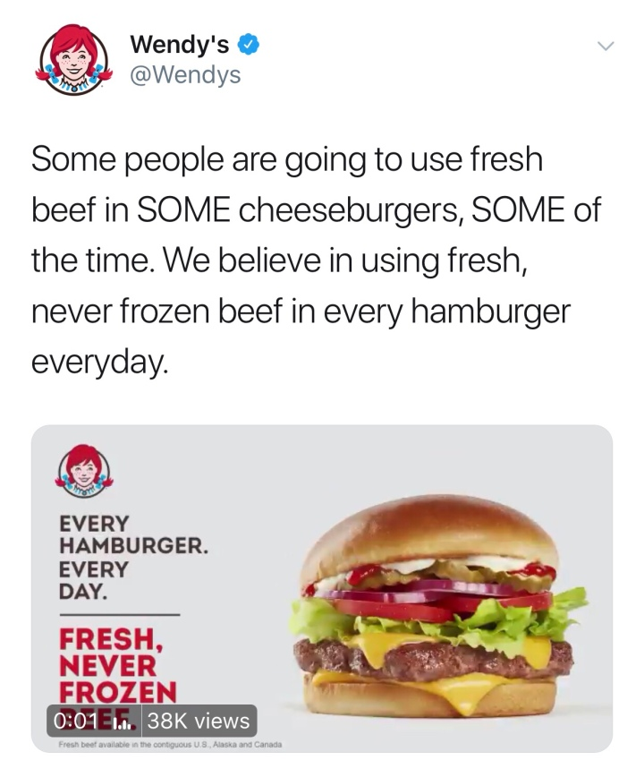 Wendy's savagely roasts Macdonald's over fresh beef news